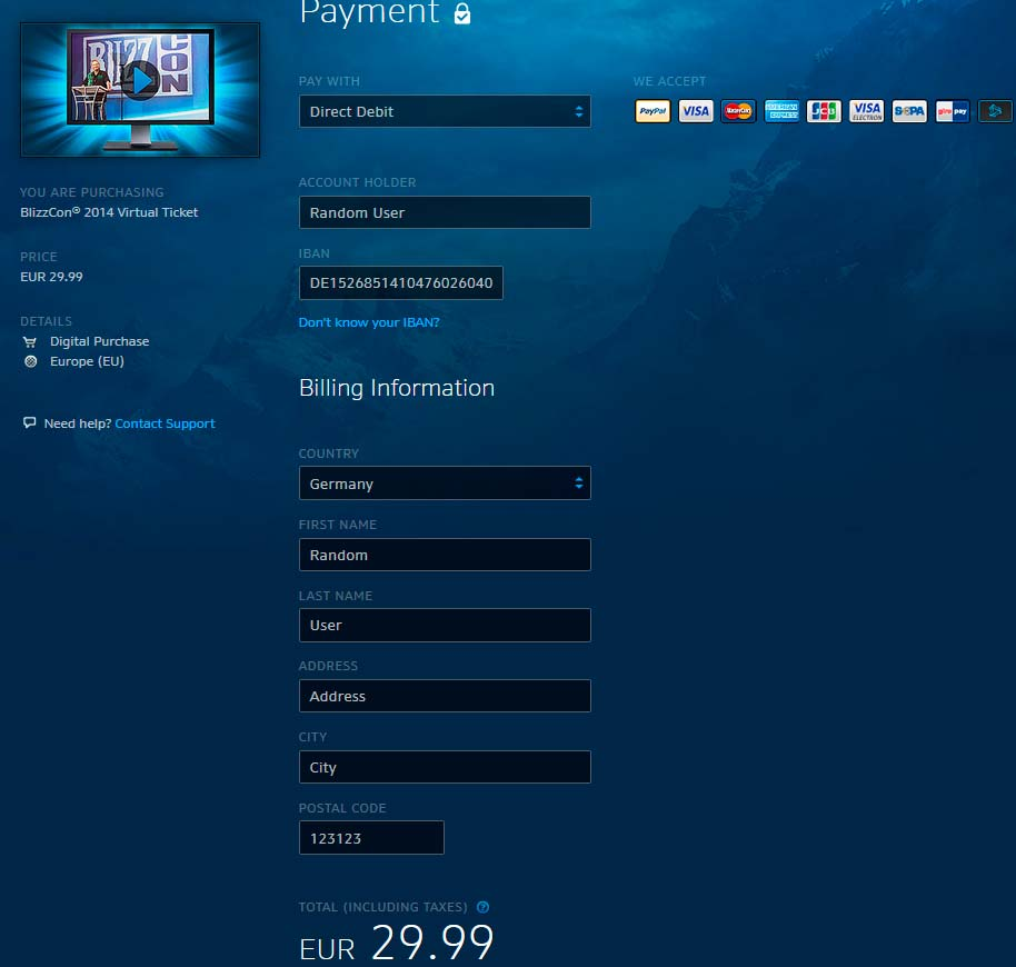 Оплата виртуального билета на BlizzCon через Direct Debit